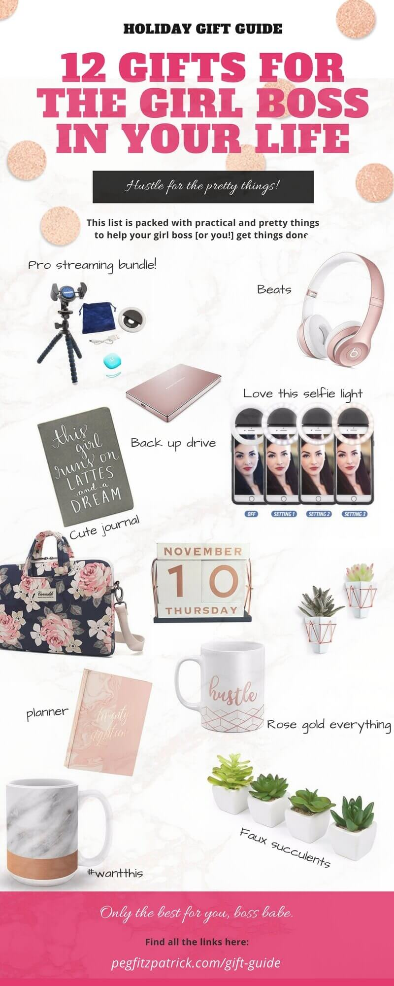 I'm always gathering inspiration for my Instagram and being surrounded by things that are beautiful boosts my creativity. This gift guide is packed with practical and pretty things to help your girl boss [or you!] get things done. #holidaygiftguide #girlboss